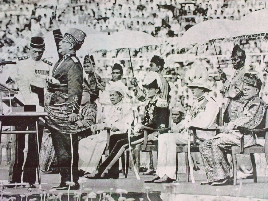 Tunku Abdul Rahman during the Proclamation of Indpendence in 1957