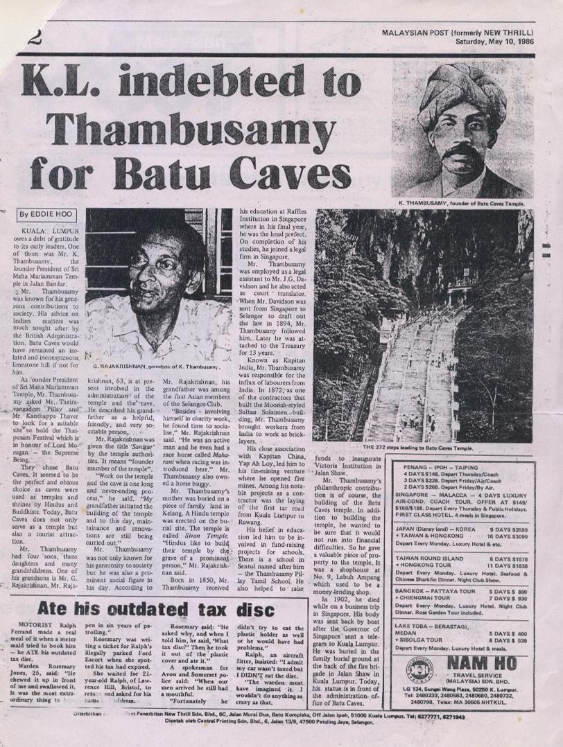Malaysian Post article about K Thamboosamy - 10 May 1986