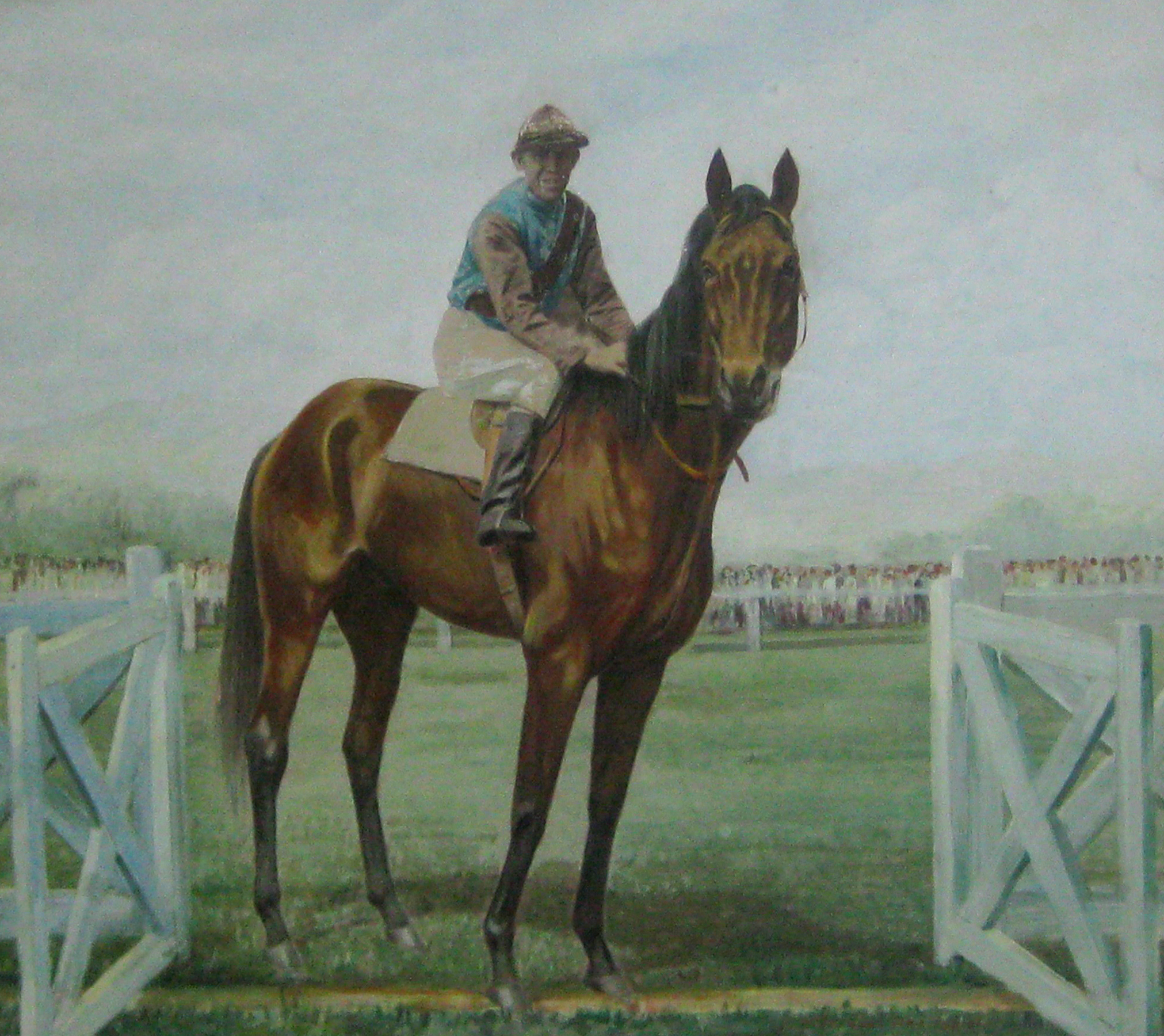The Famous Horse Ginzano oil painting done 1928 by London Art Studio, formerly owned by Ganapathy Pillai - this horse was a Gold Cup winner ridden by a Dutch jockey
