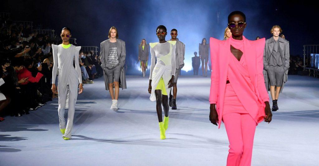 pagoda shoulders on Balmain's runway at Paris Fashion Week