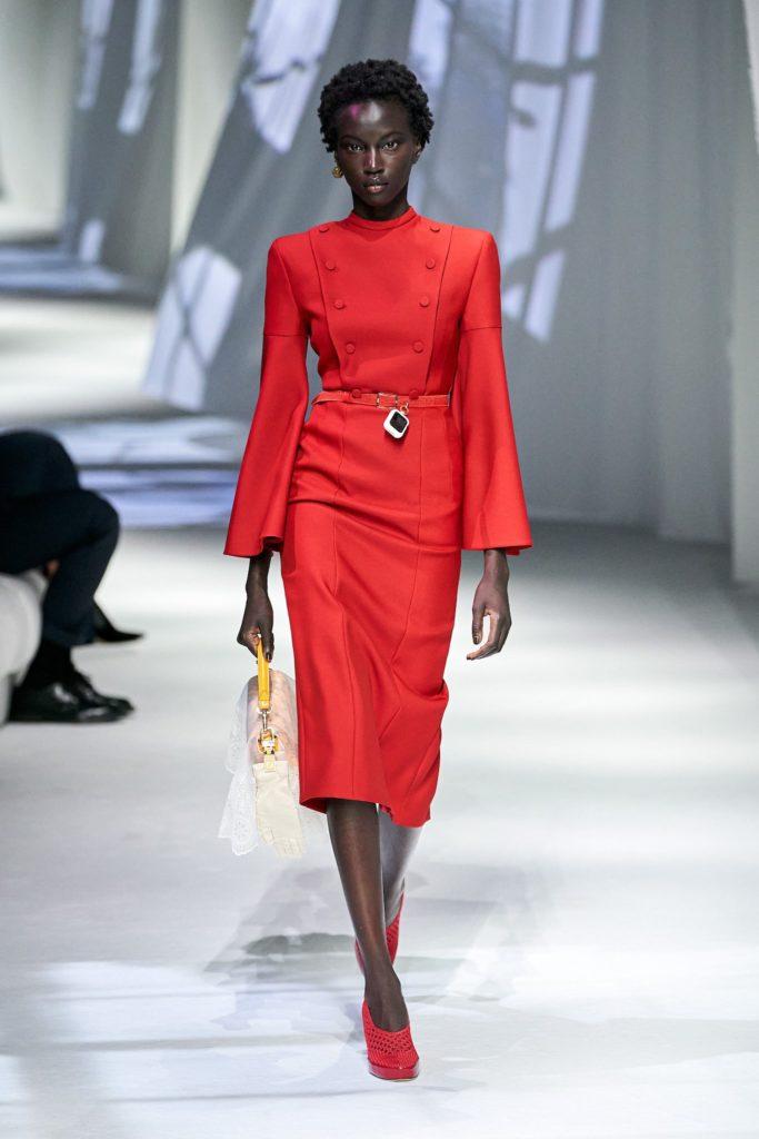 pagoda shoulders on Fendi's runway at Paris Fashion Week