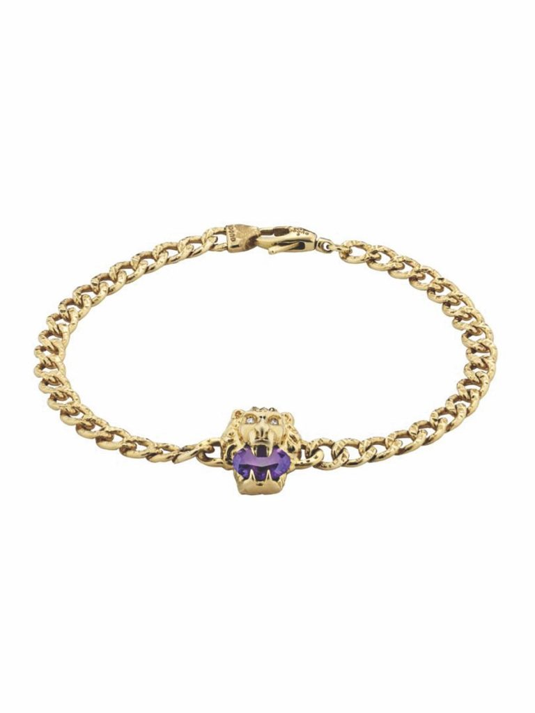 Lion head 18k bracelet with amethyst and diamonds