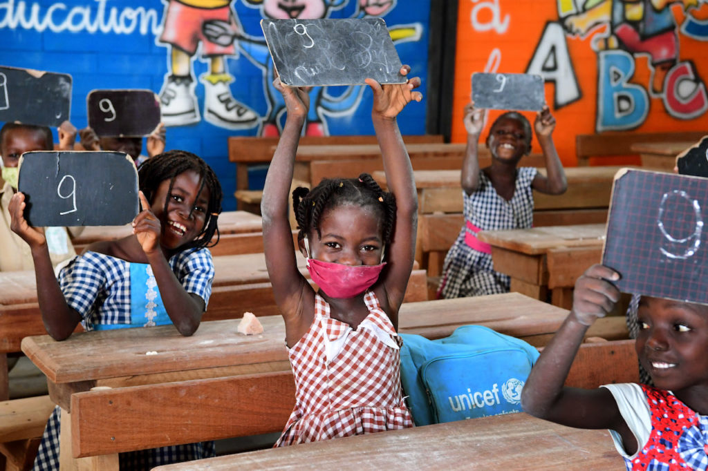 Children attending classes in Toumodi-Sakassou, in the center of Côte d'Ivoire.