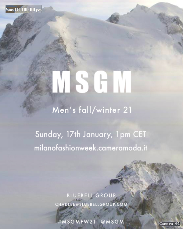 MSGM Men's Fall/Winter 2021 collection