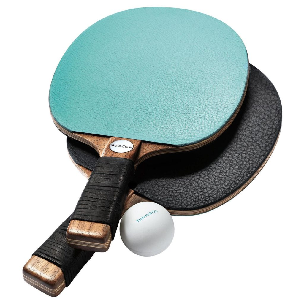Tiffany & Co. Leather and Walnut Table Tennis Paddles