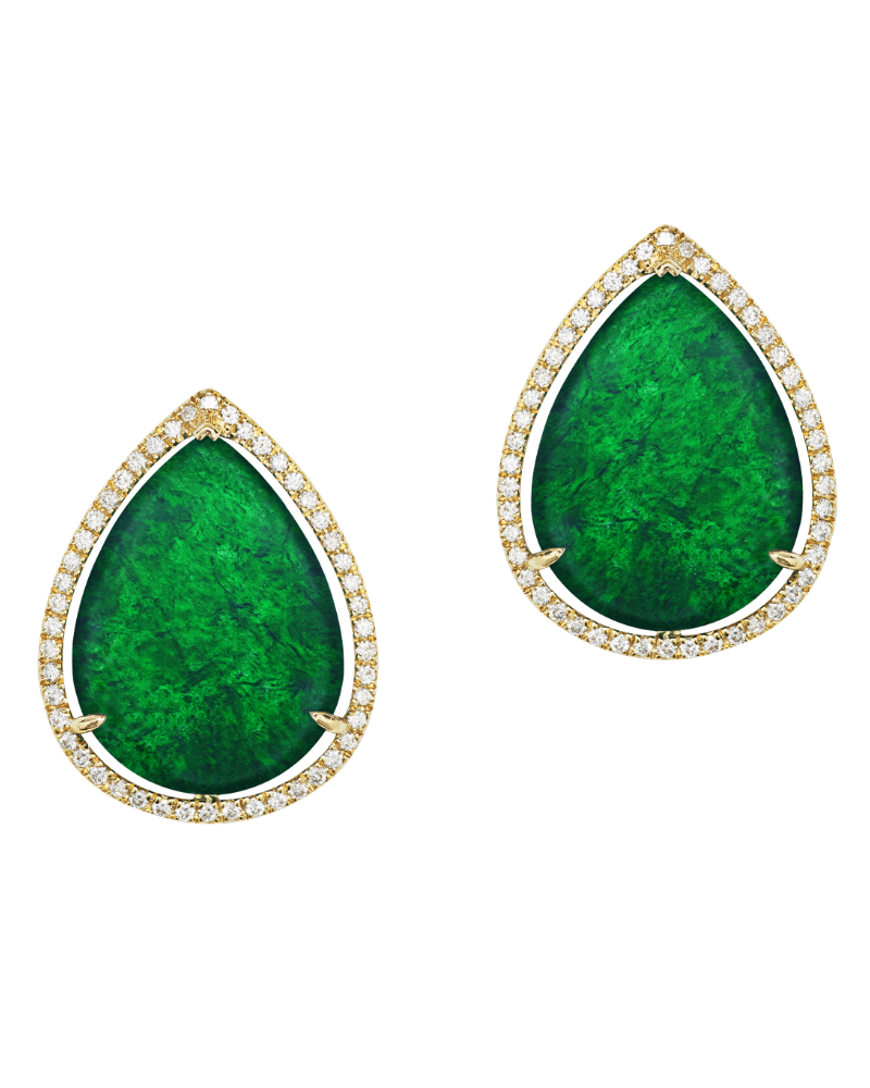 1.61ct and 1.89ct Mui Fa Lok Jadeite earrings paired with 0.49ct round brilliant diamonds, set in 18k yellow gold, from SUEN