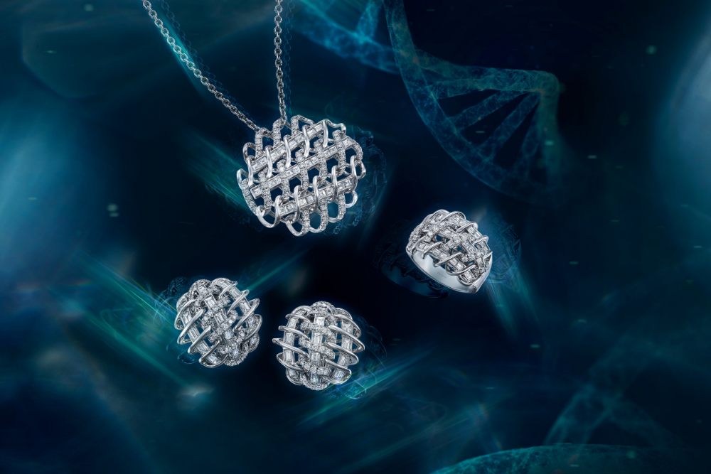 DNA collection diamond pendant, ring and earrings by DeGem