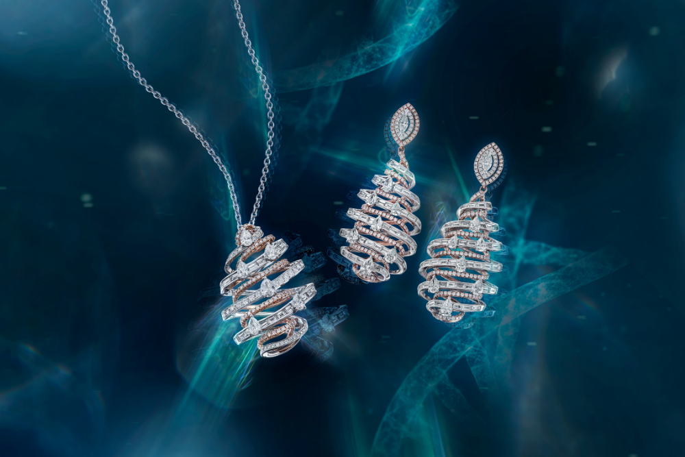 DNA collection diamond necklace and earrings by DeGem