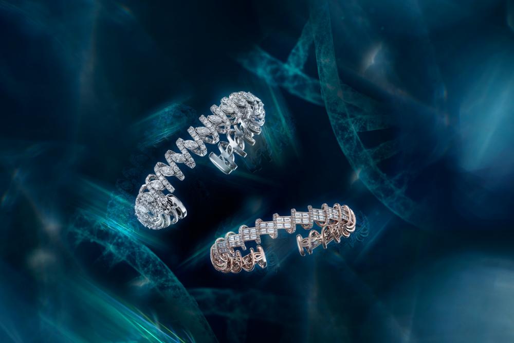 DNA collection diamond bangle by DeGem
