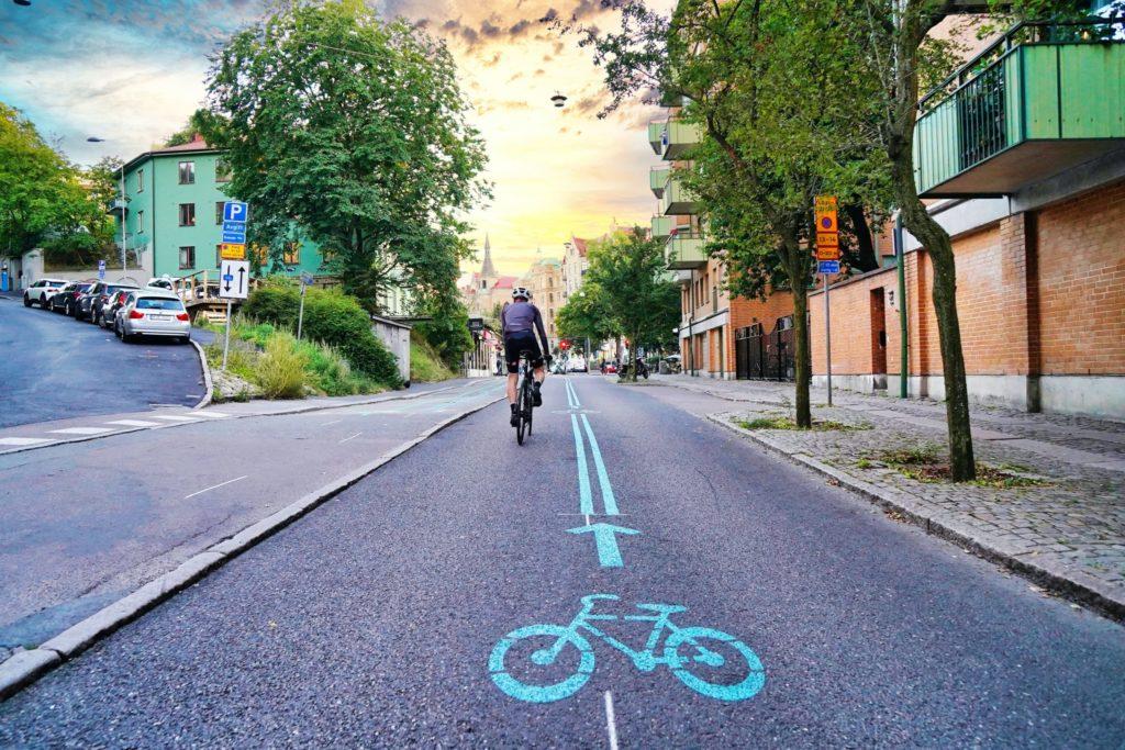 Man riding a bicycle at ecotourism destination