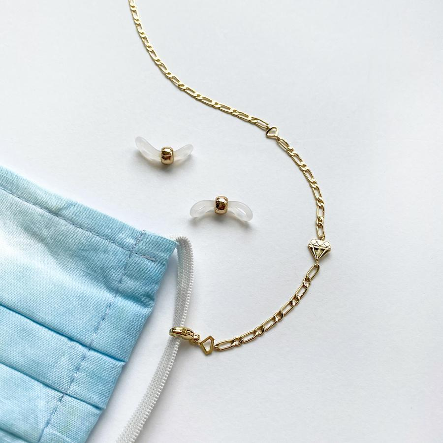 Wanderlust + Co Figaro Chain Gold Necklace and Mask Chain