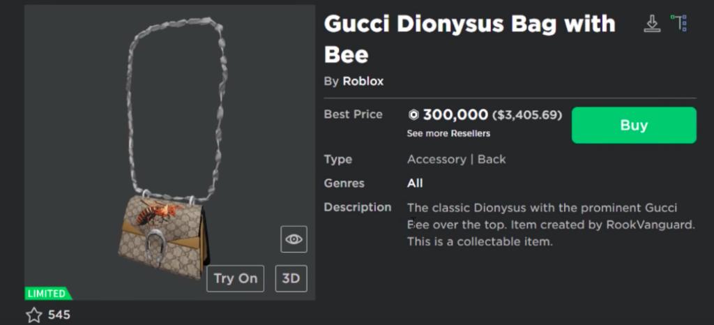 Gucci Dionysus on Roblox