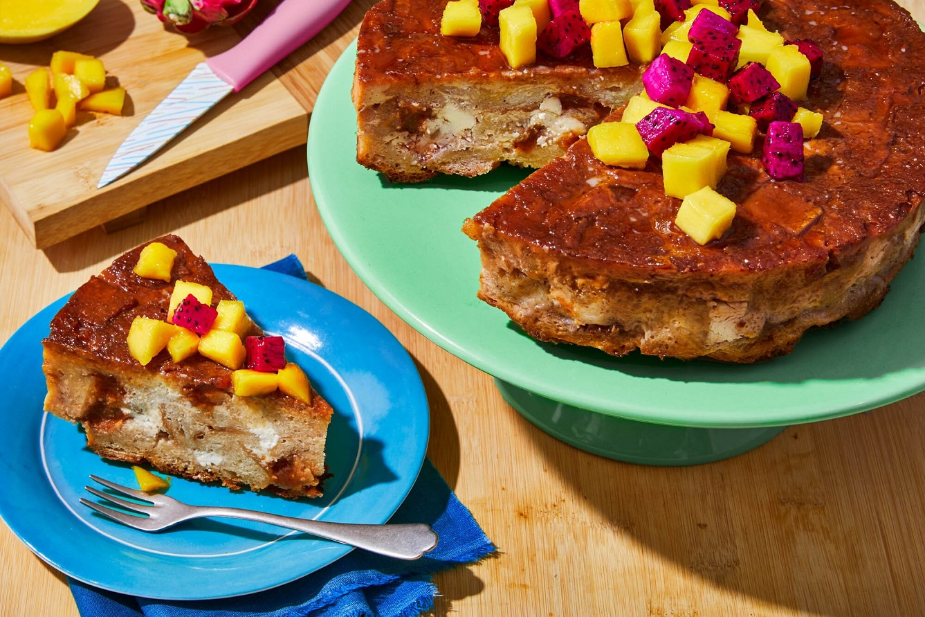 This dreamy bread pudding is studded with guava and cheese