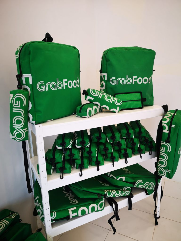 recycled GrabFood delivery bags