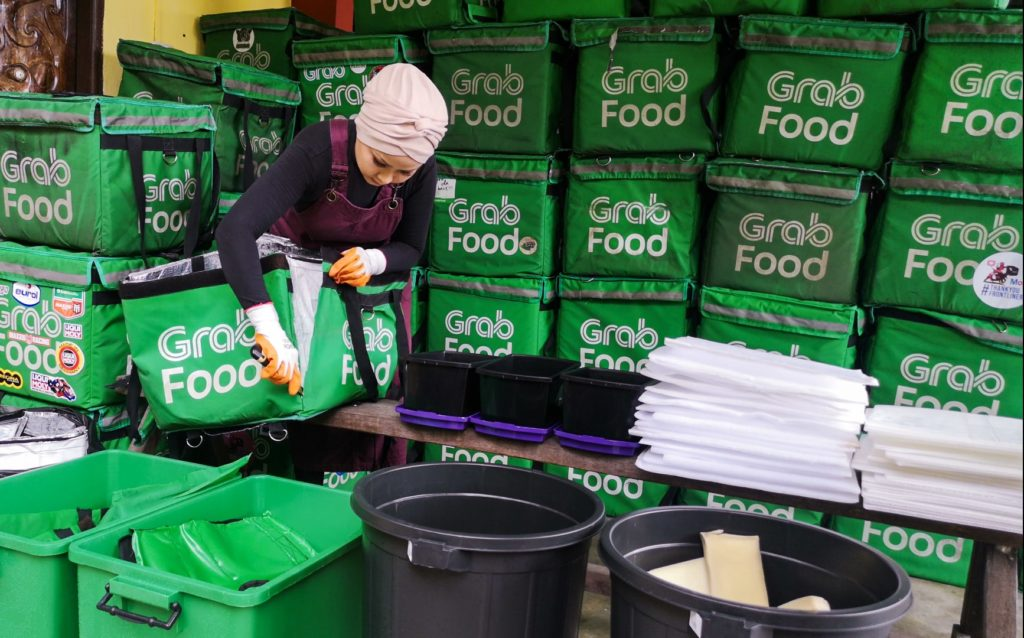 used GrabFood delivery bags