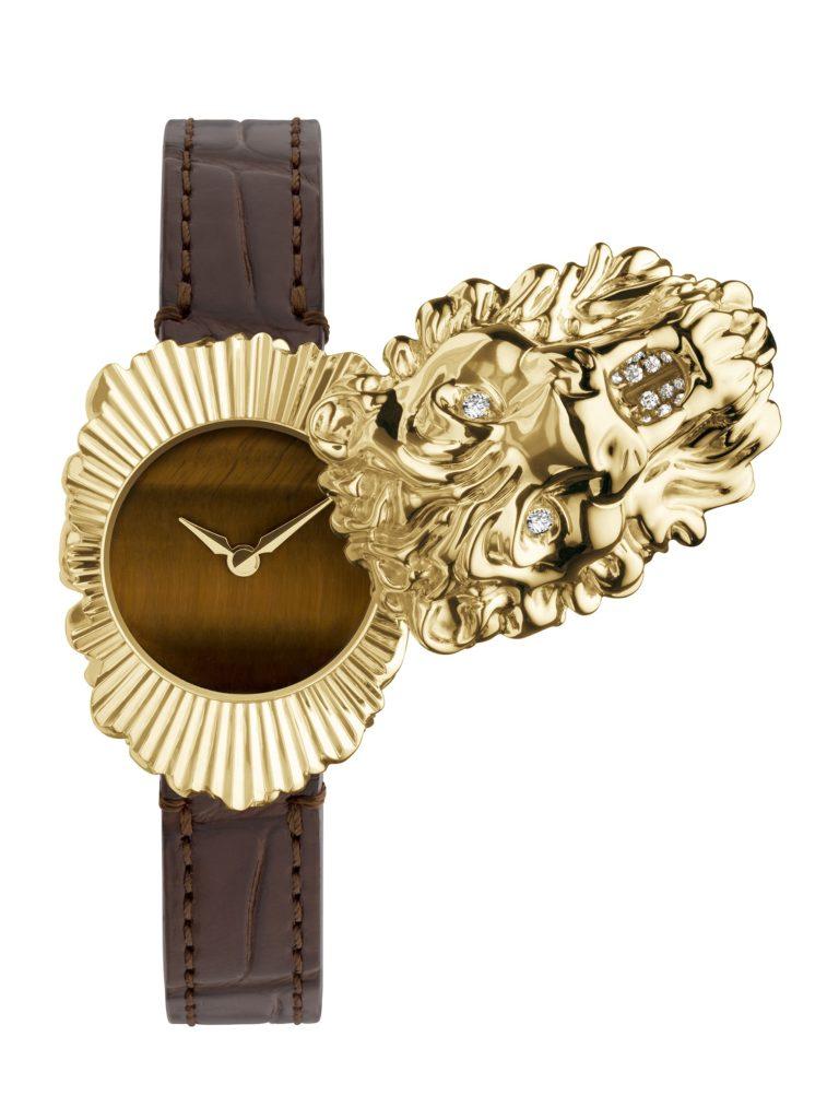 Gucci YA161503 Lion Head yellow gold with tiger eye and diamonds