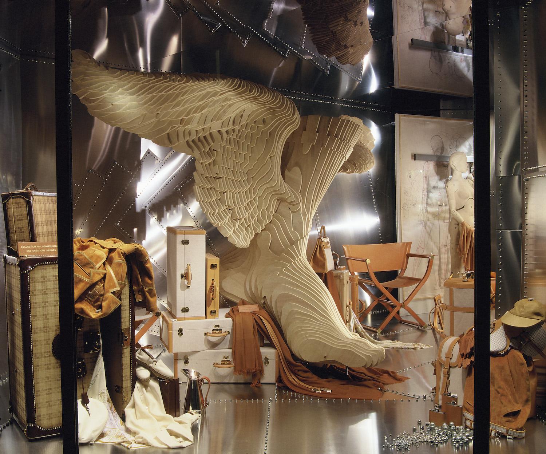 Window of the Faubourg Saint-Honoré store for Spring/Summer 1995, featuring a sculpture by Christian Renonciat (Image credit: Guillaume de Laubier/Hermès)