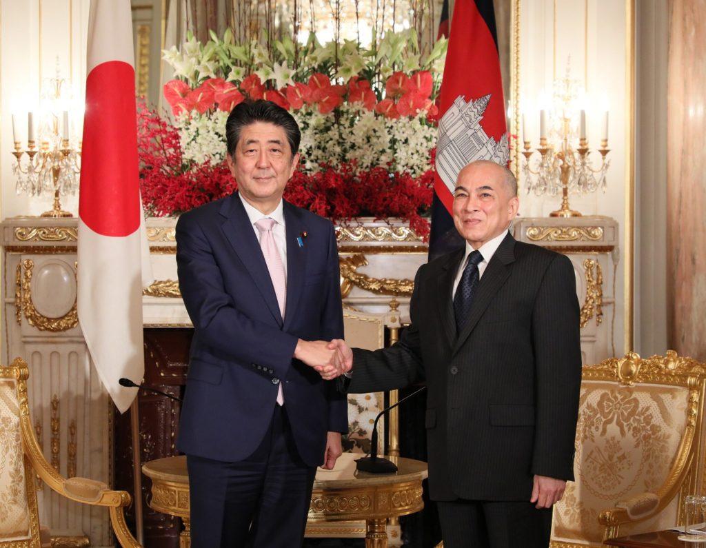 King of Cambodia with Shinzo Abe