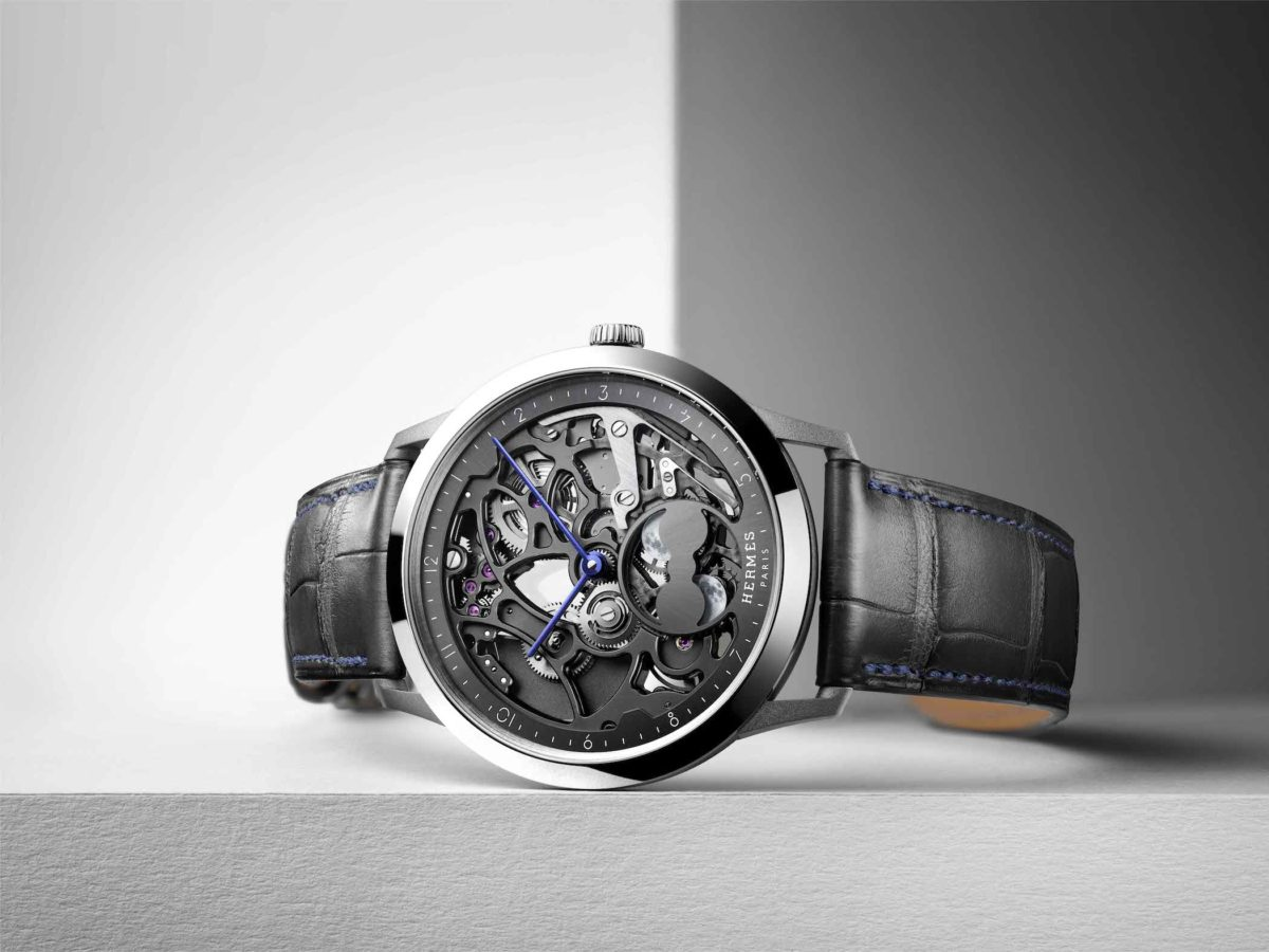 Hermès debuts its in-house skeletonised dial with the Slim d'Hermès Squelette Lune