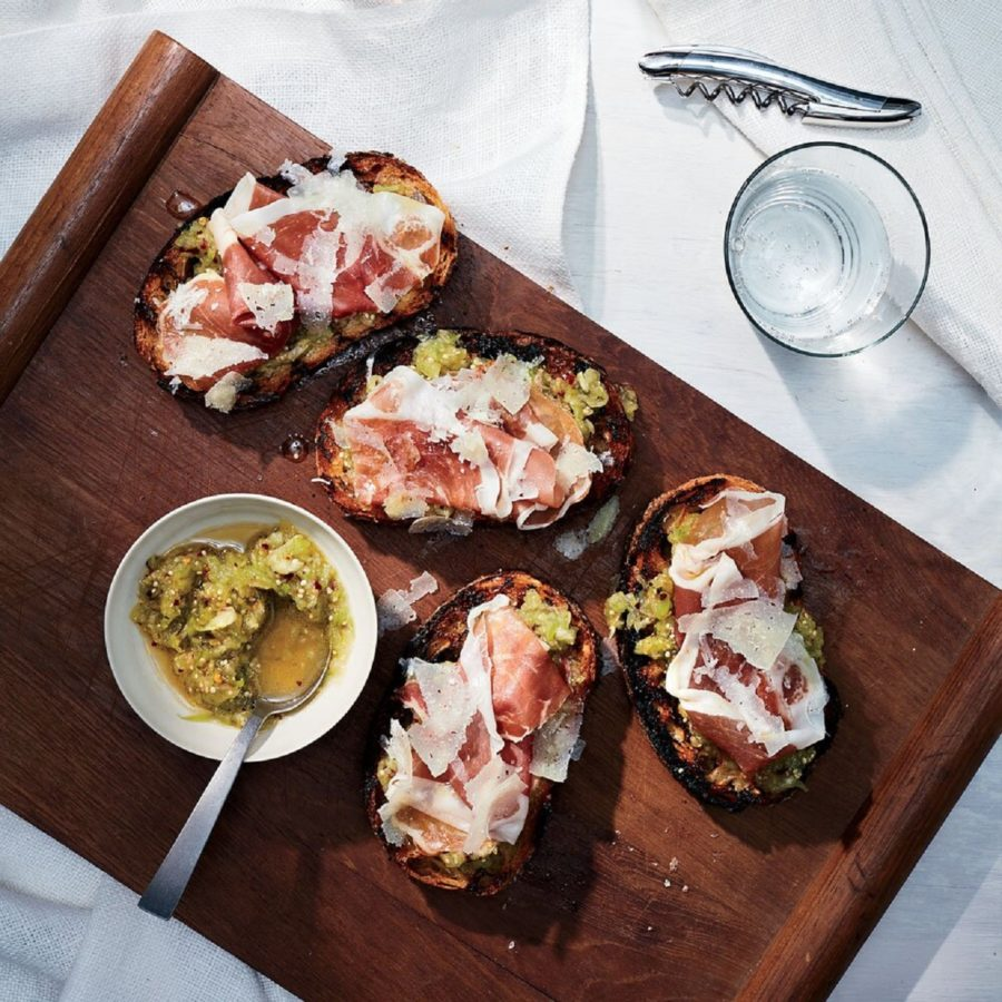 Pile your toast with tomatillos, cheese and prosciutto