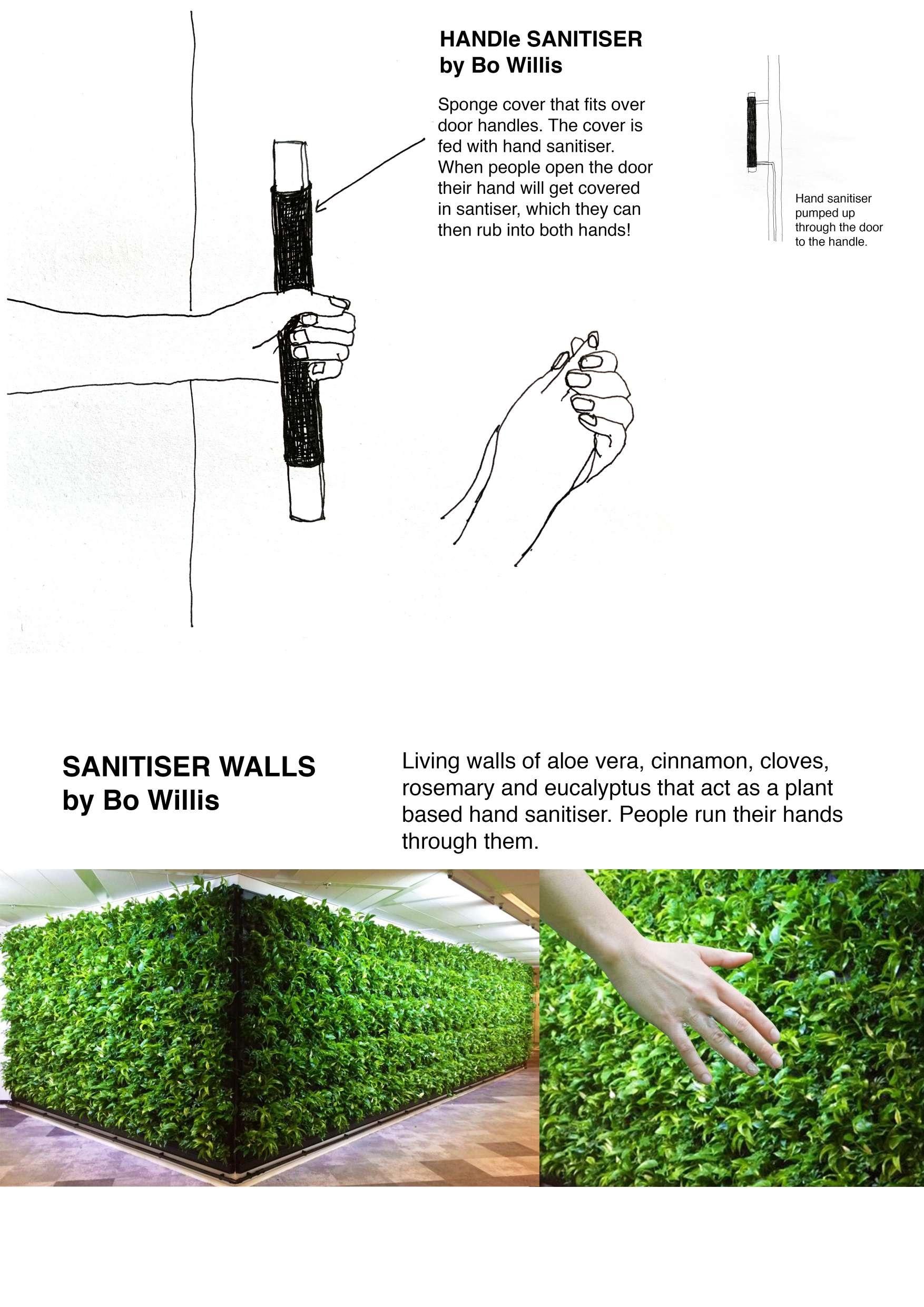 'Handle Sanitiser' and 'Sanitiser Walls' by Bo Willis