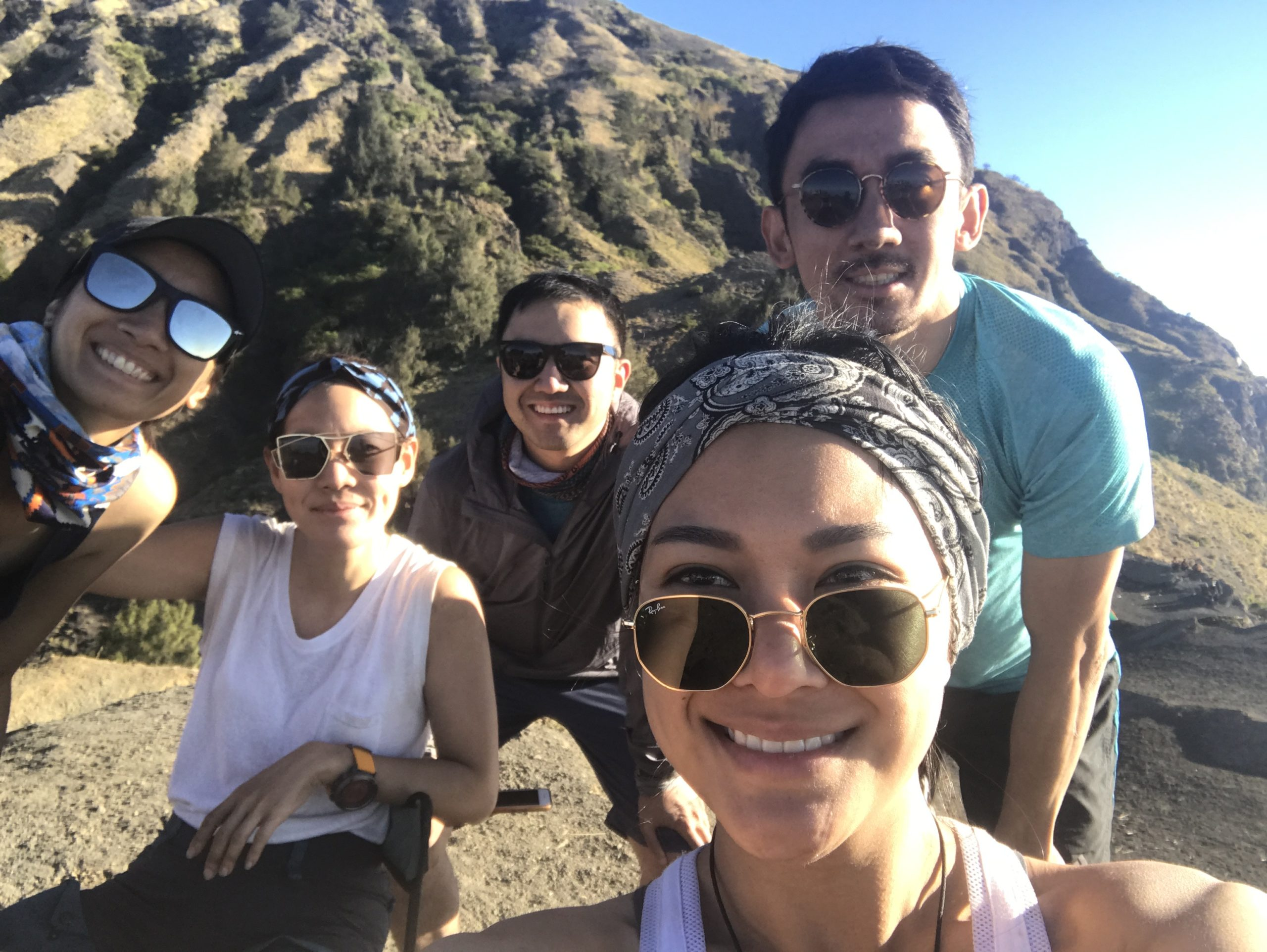 Pantila Debhakam best adventure trips: Toei and her friends in Rinjani, Indonesia.
