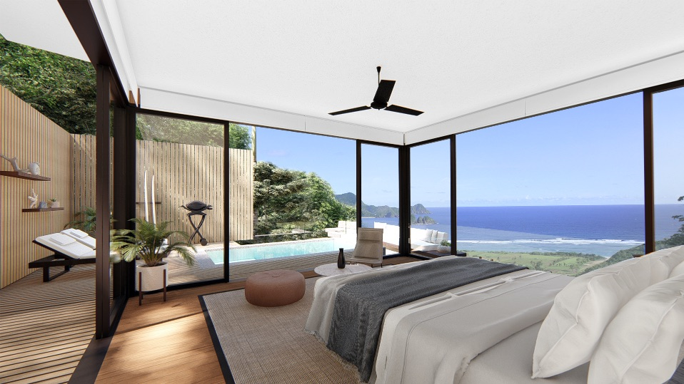 eco-friendly interior design of bedroom, capture sunlight and 360 of beach-view while you're laying down on bed.