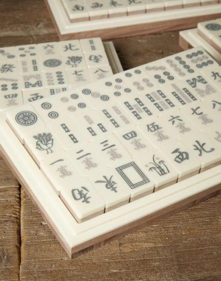 Brunello Cucinelli Walnut wood and Krion Mahjong set