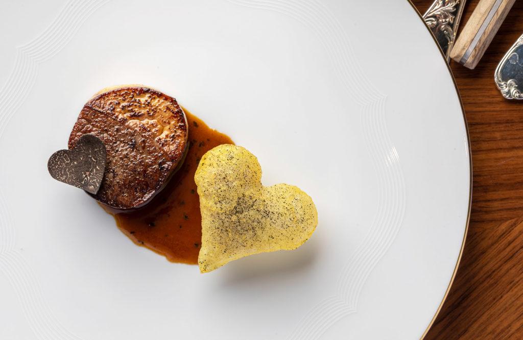 Rossini-style Wagyu beef, with potato crisps