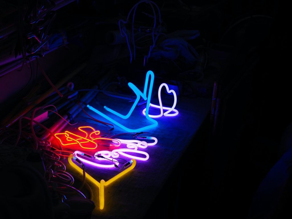 Neon signs made by Wu Chi Kai.