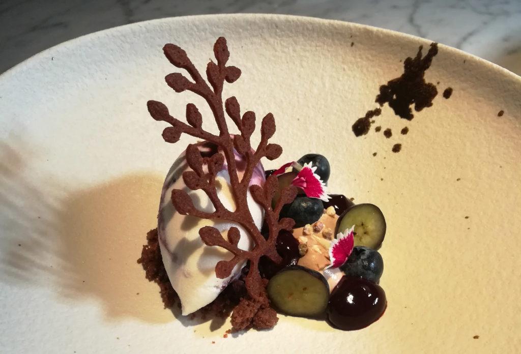 Blueberries buckwheat and chocolate dessert