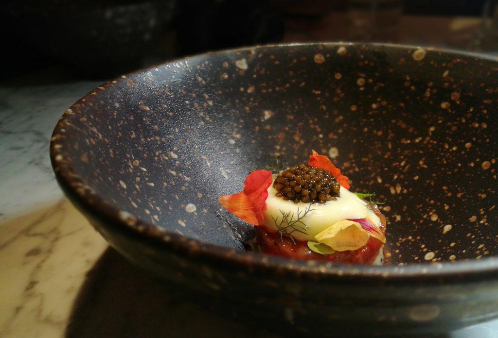 Otoro tuna with guava and cucumber sorbet (with caviar)