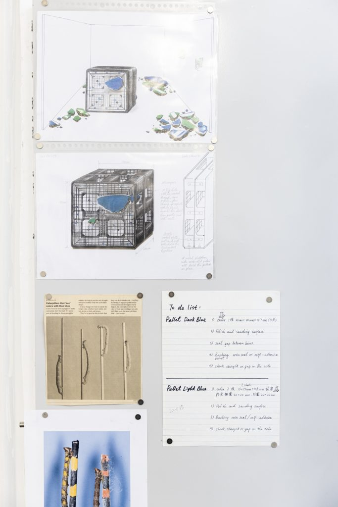 Sketches of her sculpture series Pallet in Repose