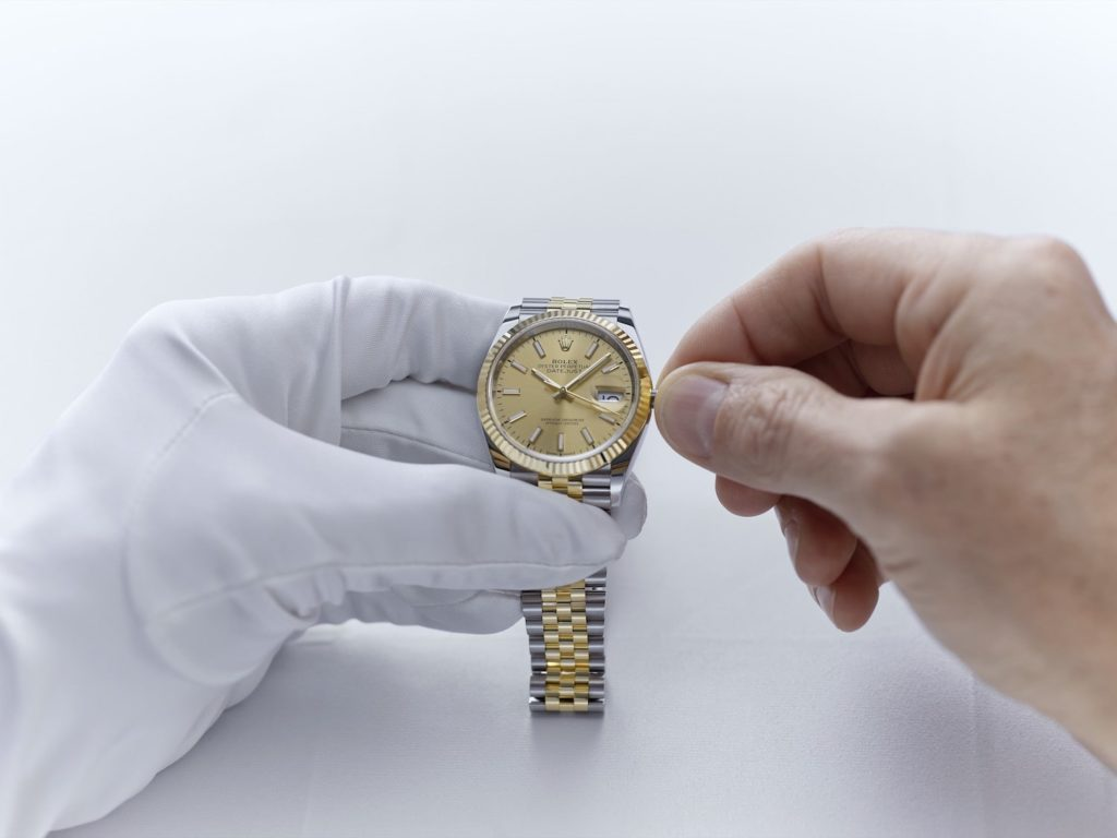 Before returning the watch to its owner, the watchmaker fully winds the movement via the winding crown.