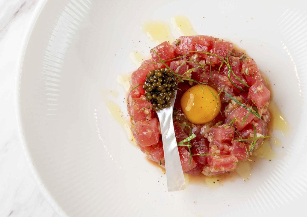 Tuna Tartare with quail egg yolk