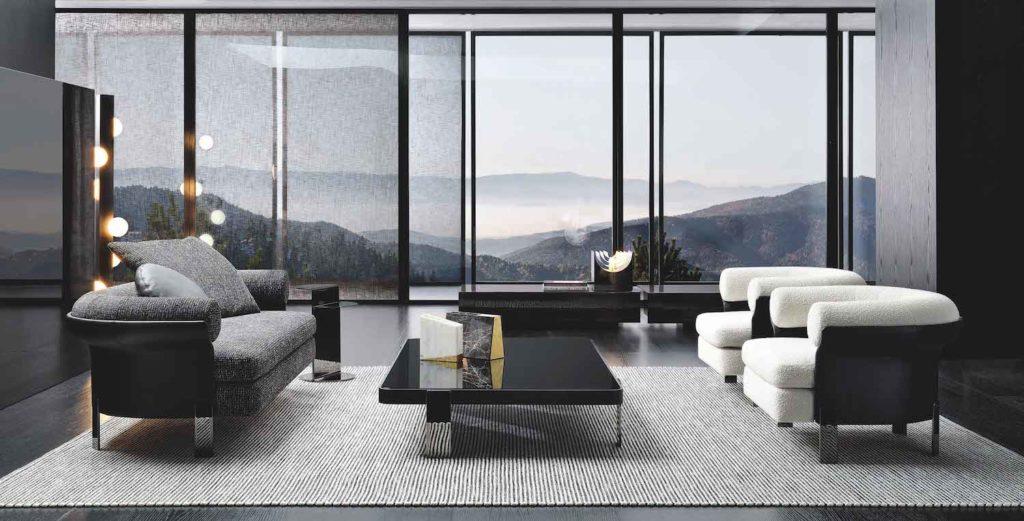 Minotti Mattia three-seater sofa, coffee table and armchair.