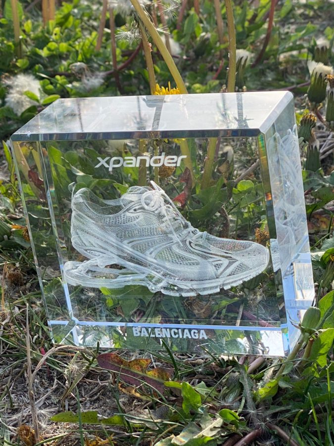 Balenciaga Objects: the Laser Cube, a Holographic Glass Sculpture for Sneaker Lovers